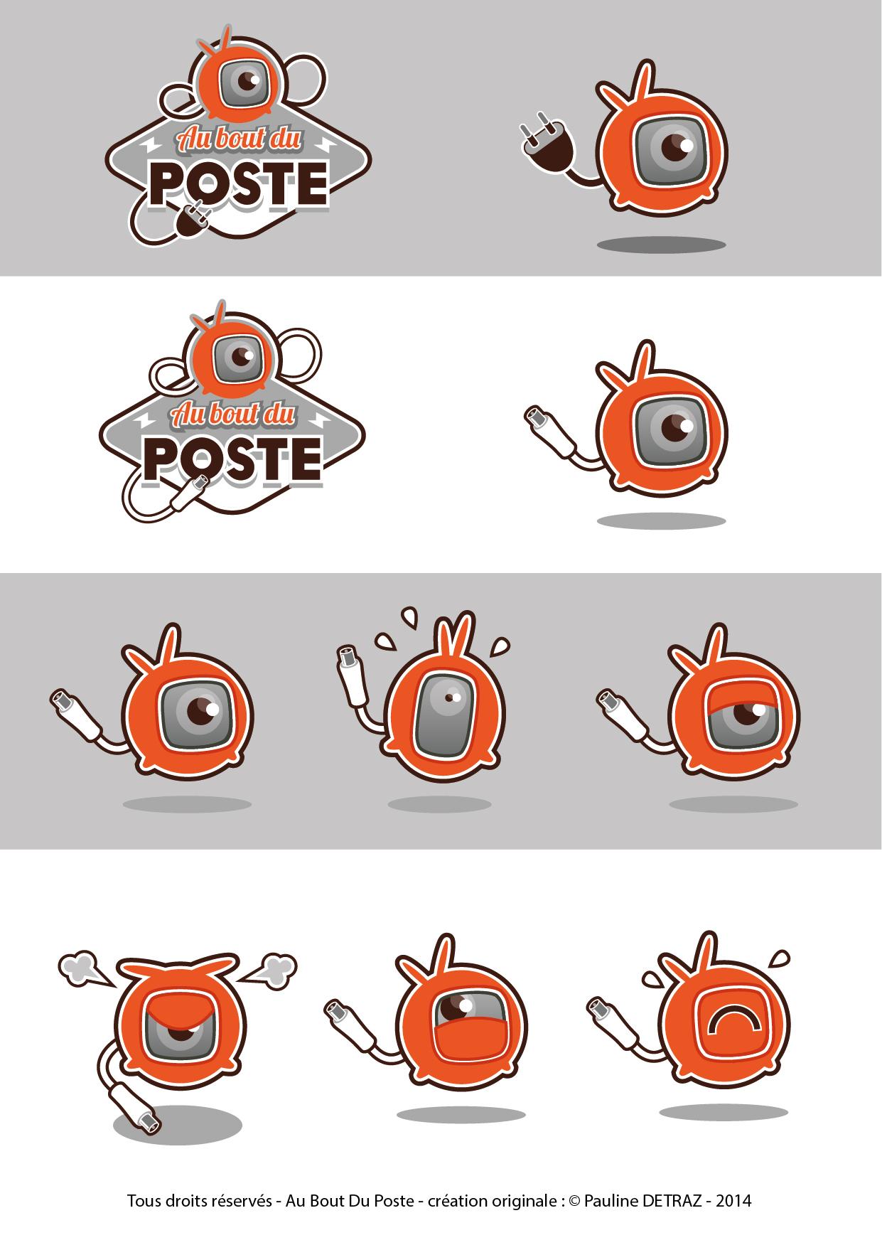 """Recherche logo et mascotte pour la web série """"Au bout du poste"""" - 2014"""